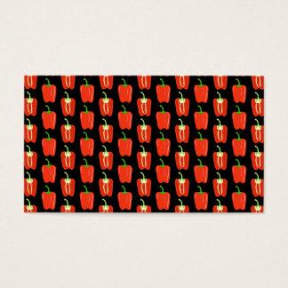 Cartão De Visitas Teste padrão de pimentas vermelhas, no preto