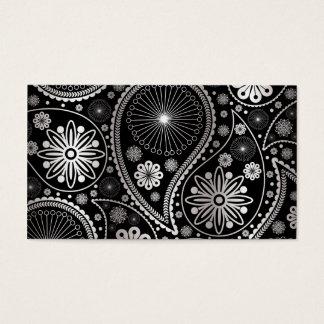 Cartão De Visitas Teste padrão de prata de paisley