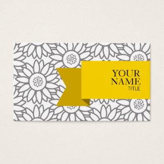 Cartão De Visitas Teste padrão elegante do girassol