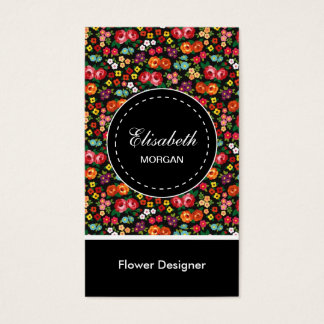Cartão De Visitas Teste padrão floral colorido do desenhista da flor