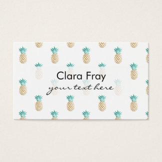 Cartão De Visitas teste padrão fresco tropical do abacaxi do ouro do