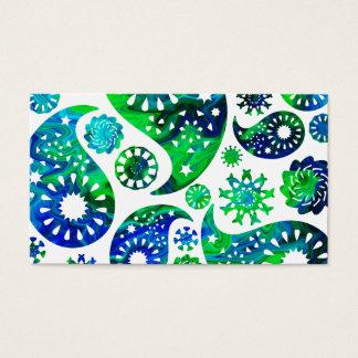 Cartão De Visitas Teste padrão Paisley de Swirly em verde e no azul