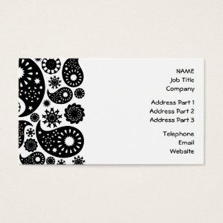 Cartão De Visitas Teste padrão preto e branco de Paisley