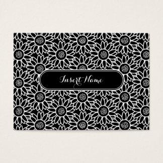 Cartão De Visitas Teste padrão preto e branco do girassol