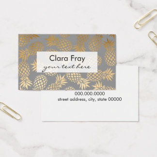 Cartão De Visitas teste padrão tropical do abacaxi do ouro elegante