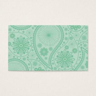 Cartão De Visitas Teste padrão verde de paisley da hortelã