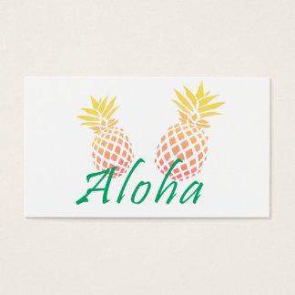 """Cartão De Visitas texto tropical do verão """"aloha"""", abacaxi colorido"""