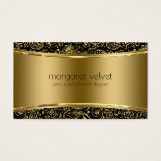 Cartão De Visitas Textura do preto & do ouro & teste padrão de