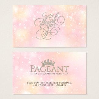 Cartão De Visitas ThankYou fundo Sparkly Pastel da tipografia