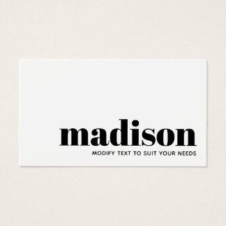 Cartão De Visitas Tipografia branca preta moderna corajosa