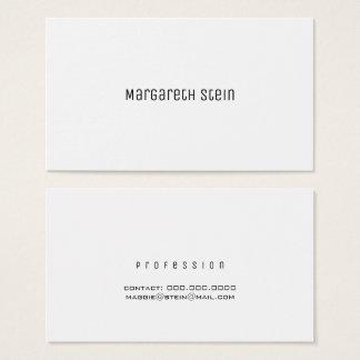 Cartão De Visitas unica elegante minimalista um branco do estilo de