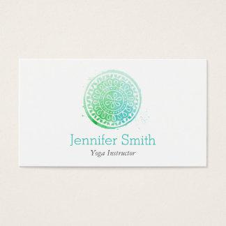 Cartão De Visitas Verde da mandala da aguarela/ioga e bem-estar do