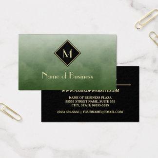Cartão De Visitas Verde escovado elegante com monograma simples do