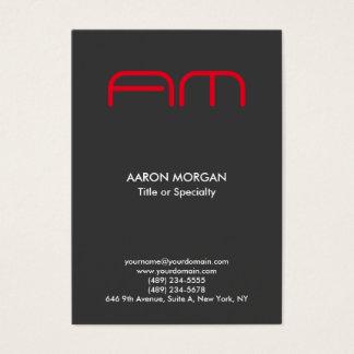 Cartão De Visitas Vermelho cinzento do monograma moderno vertical na