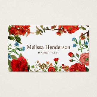 Cartão De Visitas Vermelho do vintage e branco florais