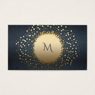 Cartão De Visitas Vintage chique elegante dos confetes do ouro do