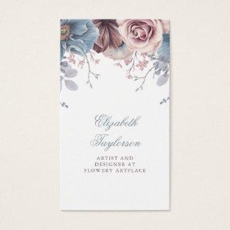 Cartão De Visitas Vintage floral empoeirado da aguarela azul e malva