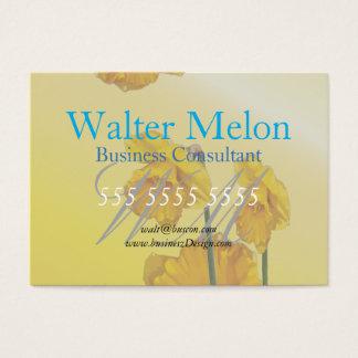 Cartão De Visitas Vintage retro do Daffodil amarelo do narciso