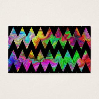 Cartão De Visitas Zigzags. coloridos pretos e brilhantes