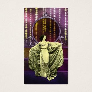 Cartão De Visitas Zohara: Mulher do art deco no amarelo & na ameixa