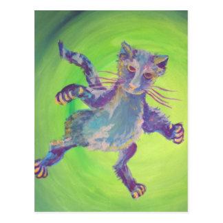 cartão de voo do gato azul