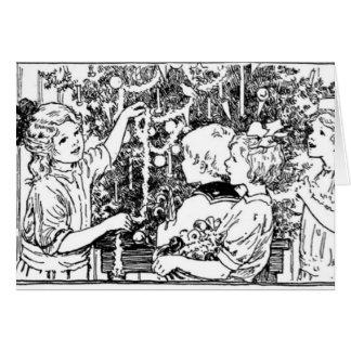 Cartão Decorando a árvore de Natal