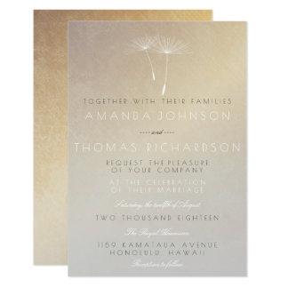 Cartão Dente-de-leão cinzento de Ombre do ouro sujo