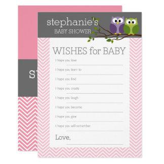 Cartão Desejos para a menina bonito das corujas do rosa