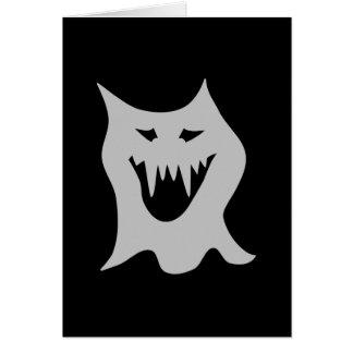 Cartão Desenhos animados do fantasma do monstro no cinza