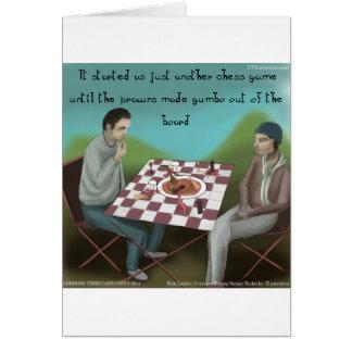 Cartão Desenhos animados engraçados da xadrez de Cajun