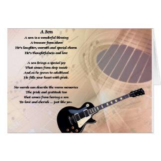 Cartão Design da guitarra - poema do filho