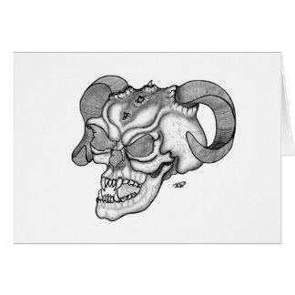 Cartão Design preto e branco da cabeça do diabo do crânio