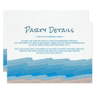 Cartão Detalhe da festa de aniversário da praia do oceano