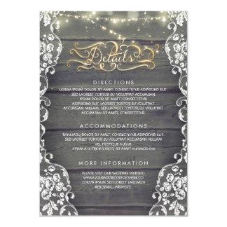 Cartão Detalhes de madeira do casamento do país rústico -