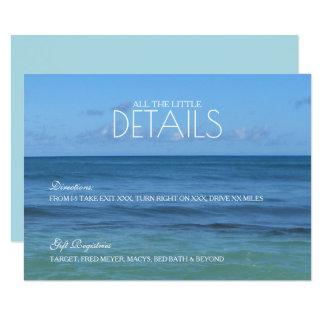 Cartão Detalhes do casamento de praia/CARTÃO tropicais da