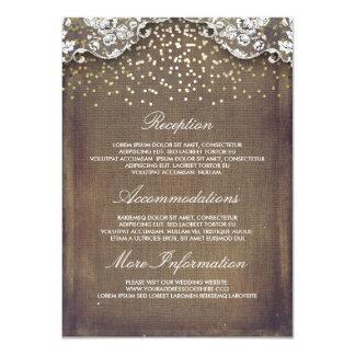 Cartão Detalhes rústicos do casamento do laço dos