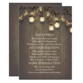 Cartão Detalhes rústicos do casamento do país das luzes