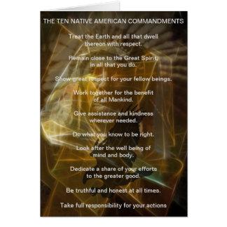 Cartão Dez mandamentos do indiano do nativo americano