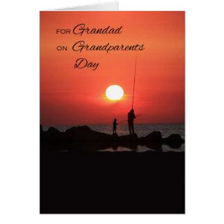 Cartão Dia das avós para o Grandad, pescando no por do