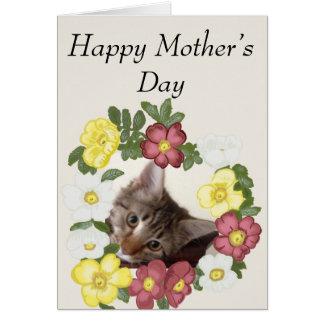 Cartão Dia das mães da festão do gatinho e da flor
