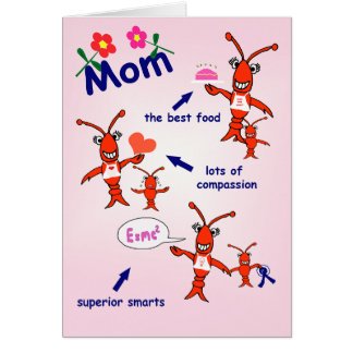 Cartão Dia das mães feliz dos lagostins de Cajun