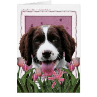Cartão Dia das mães - Spaniel de Springer inglês