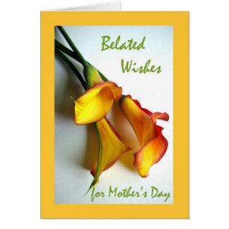 Cartão Dia das mães tardivo, lírios de Calla