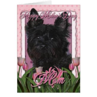 Cartão Dia das mães - tulipas cor-de-rosa - monte de
