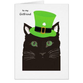 Cartão Dia de Patricks do santo para o gato preto do