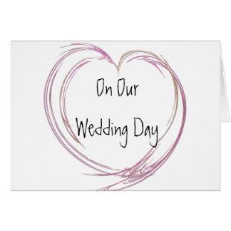 Cartão Dia do casamento abstrato cor-de-rosa do coração
