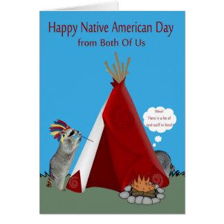 Cartão Dia do nativo americano de ambos nós
