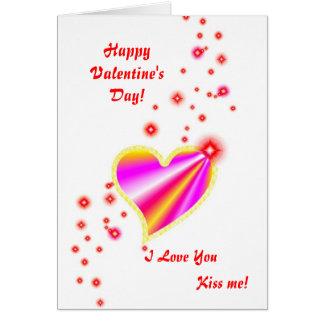 Cartão Dia dos namorados - coração cor-de-rosa amarelo do