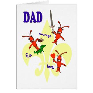 Cartão Dia dos pais feliz dos lagostins de Cajun