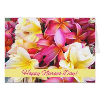 Cartão Dia feliz das enfermeiras, flores tropicais do